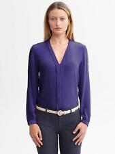 Brand New Banana Republic Women's 100%Silk Pleat Front Blouse Color Blue Size 12