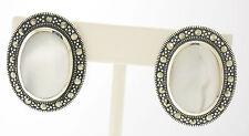 Marcasite St. Silver Large Oval Bezel Flush Set Mother of Pearl Stud Earrings