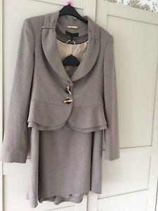 Ladies Next Skirt Jacket Suit Mink Small Size 12 (10) Wiggle Flattering Smart
