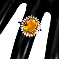 Unheated Oval Citrine, Amethyst, Topaz 12x10mm Cz 925 Sterling Silver Ring