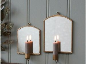 Antique Brass Wall Candle Holder Sconce with Mirror, Candlestick Metal Glass, Lg