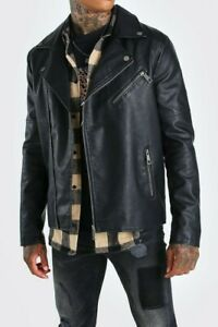 Mens Black PU Leather Biker Motorcycle Jacket Fashion College Casual Studded