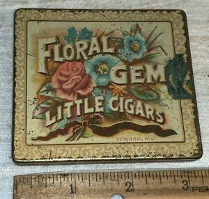 ANTIQUE TIN LITHO TOBACCO CAN #25 FLORAL GEM LITTLE CIGARS NEWARK NJ FLAT POCKET