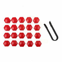 20x17mm Red Plastic Car Wheel Nut Cover Lug Dust Bolt Cap Hub Screw For VW Audi