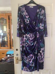 Stylish New Stretch Purple Print/lined  Dress - Kaliko Sz 14