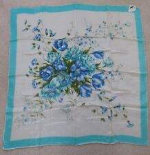Vintage Miracle Crepe Water Repellent Rayon Scarf, Blue Floral, Made in Japan