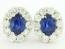 1.95 ct 14K White Gold Round Brilliant Diamond & Blue Sapphire Stud Earrings