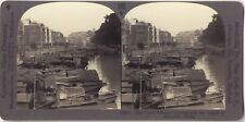 CHINE CHINA Canton Shameen Photo Stereo Stereoview Papier argentique Vintage