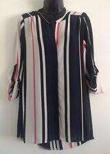 NEW Ex Wallis: Multi Stripe Chiffon Button Up Shirt Blouse Top Size S/M/L/XL