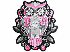 "Rockabilly Pink Sugar Skull Owl Tattoo Biker Big Embroider Back Patch 9.6"""
