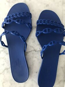 hermes rivage 41 Slippers Slides Blue Great!! Authentic