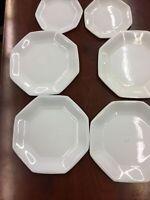 6 Arcopal France Octagon White Plates Milk Glass Octagonal