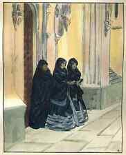 KIRCHGÄNGERINNEN - René Georges HERMANN-PAUL - Handcoloriert 1929 zu PURGATORIUM
