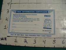 vintage 1961 mail back Post card BENEFICIAL STANDARD LIFE INSURANCE