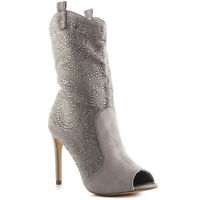 Lauren Lorraine Layla Grey Suede Rhinestone Peep Toe Cowboy Insprired Dress Boot