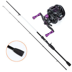 New Baitcaster Rod & Reel Combo Right Hand Fishing Rod Fishing Tackle 2.1 Meter