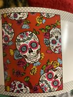 Red Folkloric Skull Day Of The Dead Fleece No Pull Fabric 1.5 Yards 54x60