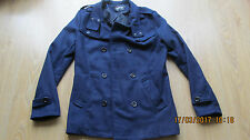 Mens Fashion Navy Slim Trench Refer Button Warm Jacket