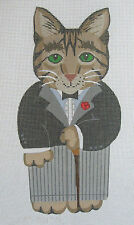 Handpainted Needlepoint Canvas Alexa Cat Father Cane Tux Dressed SCF114