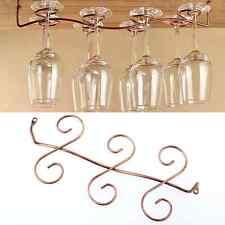 6 Wine Glass Rack Stemware Hanging Under Cabinet Holder Hanger Bar Display