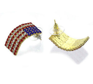 4th of July USA Patriotic American Flag Curved Rectangular Stud Post Earrings
