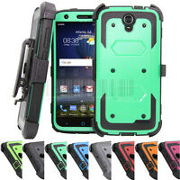 For ZTE Warp 7 / Grand X3 Shockproof Rubber Hybrid Heavy Duty Case Cover Holster