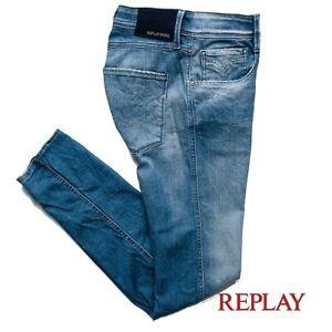 Jeans da uomo REPLAY taglia W32 ANBASS slim fit pantalone elasticizzato vintage
