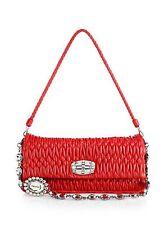 Brand New MIU MIU Double-Strap Pucker Leather Shoulder Bag, NWT MFR $1825