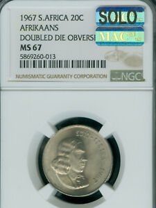 1967 DDO SOUTH AFRICA AFRIKAANS 20 CENTS NGC MS67 MAC SOLO FINEST 2 COINS KNOWN*
