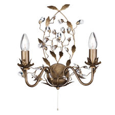 Searchlight Almandite 2 Lights Gold Crystal Droplets Wall Fitting Bracket Light
