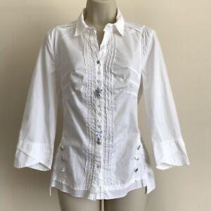 ELISA CAVALETTI Club Plain White Embelished Button Shirt Designer Blouse Size S