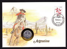 1984 Argentina Flower Stamp & Coin Cover Man on Horse with rope Cactus Desert