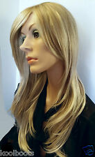 Very Long Golden Blonde Highlighted Full Wig w Sideswept bangs