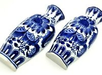 """Pair of Vintage Blue and White Asian Style Ceramic Wall Pockets 10"""" Tall"""