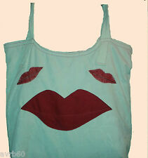 Bolso de mano crema con forro rojo y labios rojos patrón hecho a mano de compras o Craft
