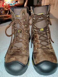 "NEW KEEN MT. VERNON 8"" STEEL TOE WATERPROOF BOOTS IN BROWn left 9, right 9.5"