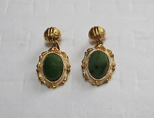 Vintage Designer HOBE Green Genuine Chrysoprase Gold Tone Dangle Clip Earrings