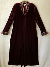 Diamond Tea Burgundy Velvet Robe Gold Tone Brocade Embroidery With Pockets sz L