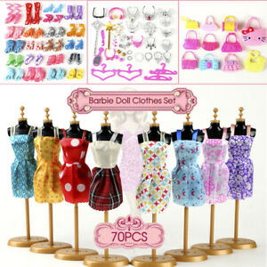 70pcs Items For Barbie Doll Jewellery Clothes Set Accessories Dresses Shoes