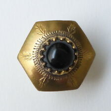 Button Antique - Brass Hex -1/32in- Mounted Black Pearl Brass Button + 1 IN