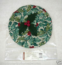 "LONGABERGER ""Caroling Basket"" LID COVER~Fabric~American Holly~NEW~FREE SHIP"