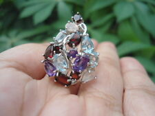 NATURAL TOPAZ, AMETHYST, GARNET & ROSE QUARTZ Sterling 925 Silver RING 7.0