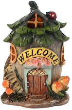 Fairy Welcome House With LED Light Decorative Resin Ornament 11 Cm High