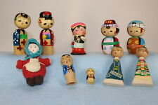 Lot of 10: 6 Vintage Japanese Kokeshi Dolls, 2 Kokeshi Erasers, 2 Chinese Dolls