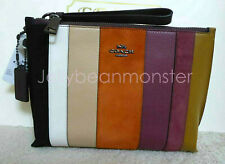 COACH 76179 CHARLIE PATCHWORK STRIPES LEATHER POUCH BAG PURSE Beechwood Multi