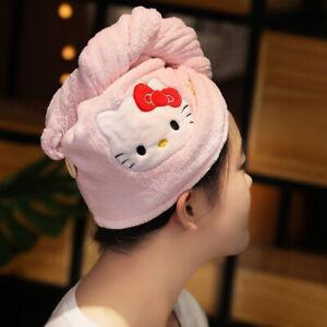 Cute Kuromi Hello kitty Cinnamoroll My Melody Drying Hair Turban Towel Cap Wrap