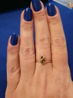 14k Russian Rose Gold Sapphire And Diamond Ring. Size N1/2.