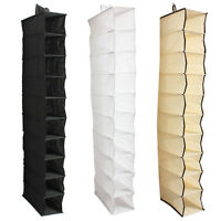 10 Tiers Hanging Rack Bag Clothes Shoes Hanger Organiser Wardrobe Closet Storage