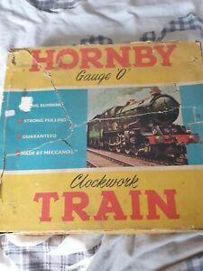 Hornby  O Gauge Clockwork Tin Goods Train Set Spares or repair loco runs