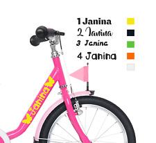 2 Aufkleber Mädchen Kinderrad Kinderfahrrad Fahrrad Kind Wunschname Ostern